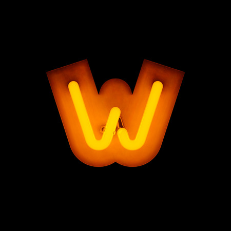 letter w: Neon Letter w lower case neon alphabet collection isolated on black