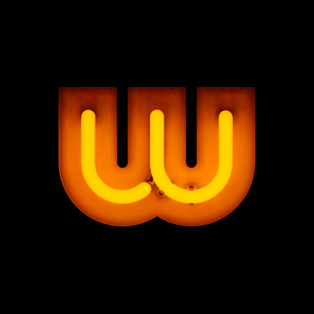 lower case: Neon Letter w lower case neon alphabet collection isolated on black