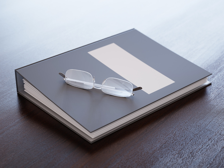 ring binder: Ring binder on a table close-up Stock Photo