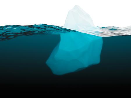imminence: Submarino vista de primer plano del iceberg en el mar