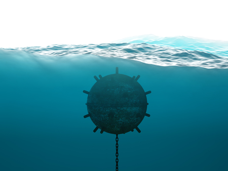 hidden danger: Old anchor contact mine under water concept