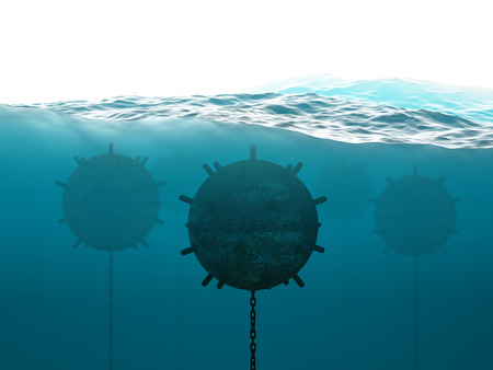Old anchor contact mines under water