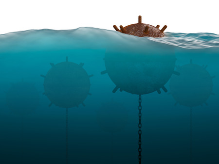 latent: Old anchor contact mines under water