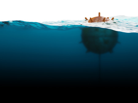 latent: Old anchor contact mine  under water concept
