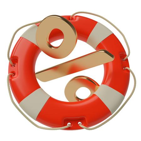 escape key: Percent sign inside of lifebuoy isolated on white background