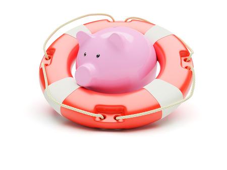 Lifebuoy with piggybank isolated on white background