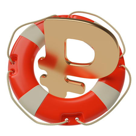 escape key: Russian rouble sign inside of lifebuoy isolated on white background