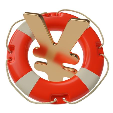 stagnation: Japanese yen sign inside of lifebuoy isolated on white background