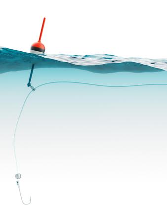 pescando: Bobber con l�nea de pesca y gancho bajo el agua Primer plano Foto de archivo