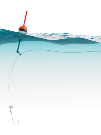 bobber: Bobber with fishing line and hook under water closeup Stock Photo