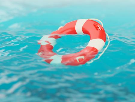 surface closeup: Lifebuoy on water surface closeup