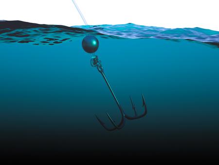 quadruple: Quadruple hook under water closeup
