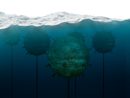 imminence: Old anchor contact mines under water
