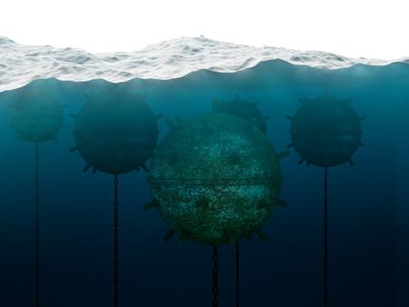 Oud anker contact mijnen onder water