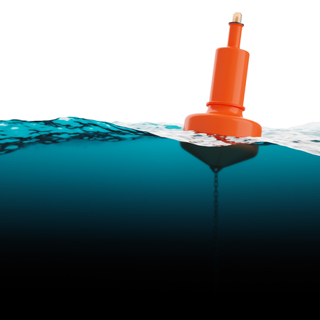 seaway: Red beacon on water surface