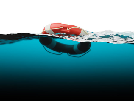 Lifebuoy on water surface closeup