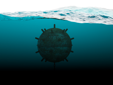 imminence: Old anchor contact mine under water concept