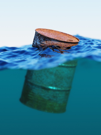savings problems: Old rusty barrel floating on the waves concept