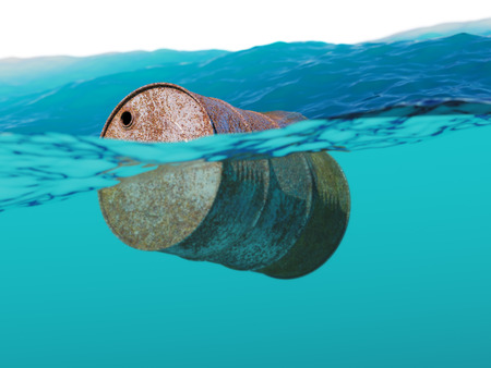 barrel: Old rusty barrel floating on the waves concept