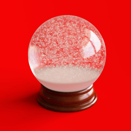 Empty snow globe isolated on red backgorund Stock Photo