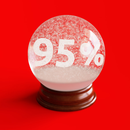95: Snow globe with 95 percent discount title inside isolated on red backgorund Stock Photo