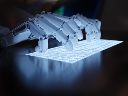 Robot typing on conceptual self-illuminated keyboard 写真素材