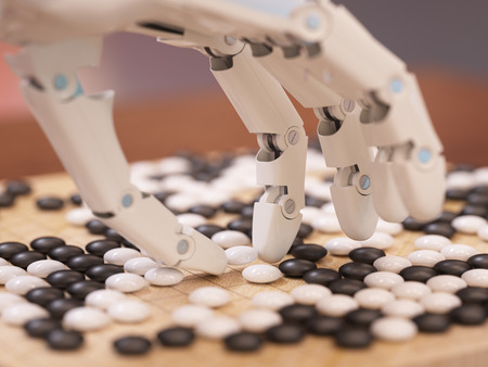 Artificial intelligence playing traditional board game Go concept Фото со стока