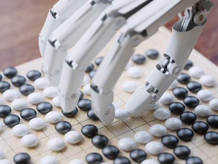 Artificial intelligence playing traditional board game Go concept Stock Photo