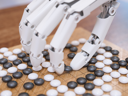 Künstliche Intelligenz traditionelles Brettspiel Go-Konzept spielen Standard-Bild - 56867169