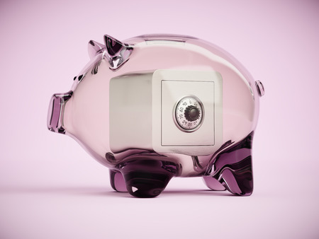 cypher: Piggy bank with locked safe box inside concept 3d illustration
