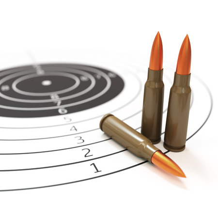 three objects: Shooting range and target concept isolated on white 3d illustration