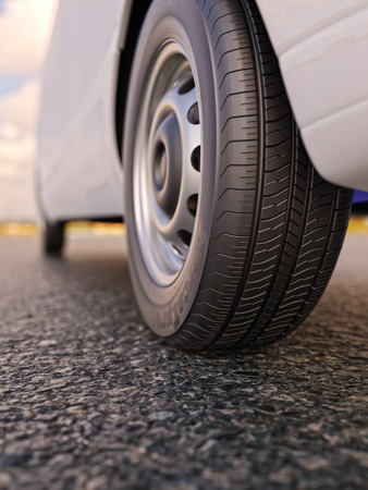 tire cover: Van wheel close-up 3d illustration