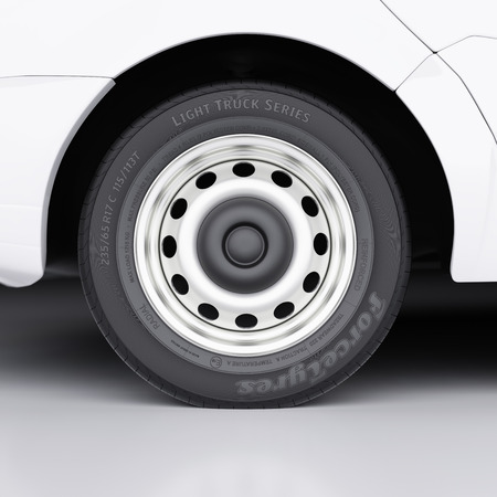 aluminum wheels: Van wheel with abstract label and markings close-up 3d illustration Stock Photo
