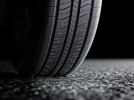 car tire: Car tire protector close-up 3d illustration on dark background