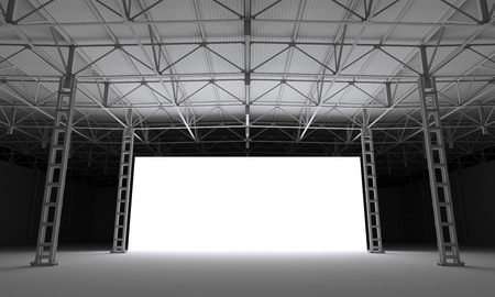 inside of: Abstract illuminated white stage inside of industrial building 3d illustration