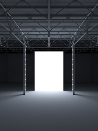 inside of: Abstract illuminated white rectangle inside of industrial building 3d illustration