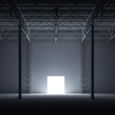 stage door: Abstract self-illuminated open door inside of storehouse 3d illustration