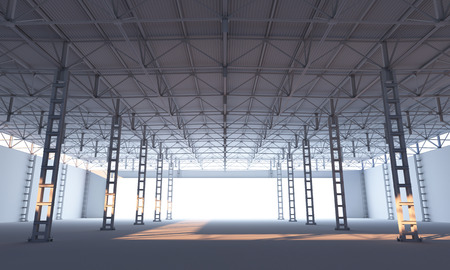 stage door: Abstract illuminated white stage inside of storehouse 3d illustration