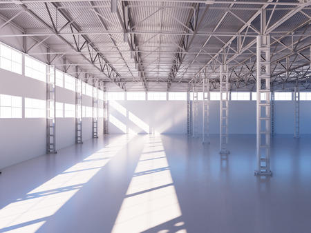 warehouse interior: Contemporary empty warehouse interior 3d illustration background