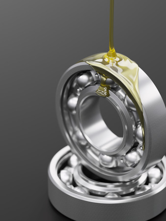 inox: Oiling ball bearing close-up on grey glossy background 3d illustration