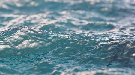 Blauw water oppervlak close-up met ondiepe scherptediepte achtergrond 3D-afbeelding Stockfoto