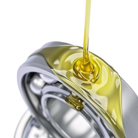 Olien kogellager close-up op een witte achtergrond 3D-afbeelding