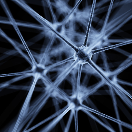 neuronal: Abstract virus nanostructure on black background 3d illustration Stock Photo