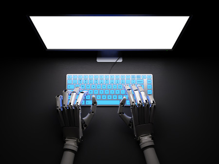 backdoor: Robot typing on fluorescent keyboard with bright white screen 3d illustration