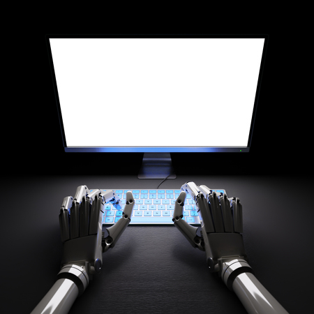 typing: Robot typing on fluorescent keyboard with bright white screen 3d illustration
