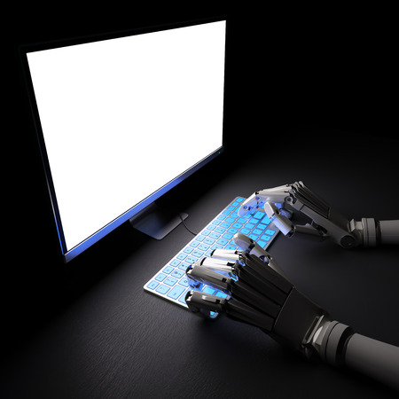 Robot typing on fluorescent keyboard with bright white screen 3d illustration
