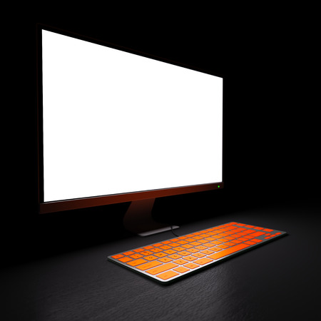 Bright empty computer display and keyboard at workplace in dark room 3d illustration