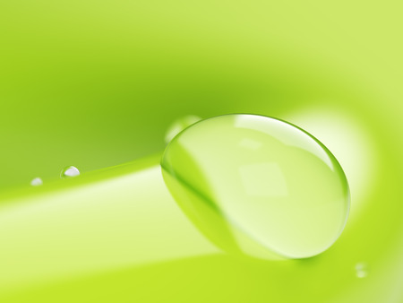 surface tension: Water drop on green background closeup background 3d illustration