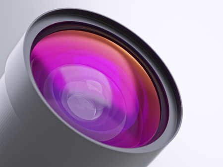 shadowing: Abstract modern multicoated lens of camera or optical telescope closeup 3d illustration