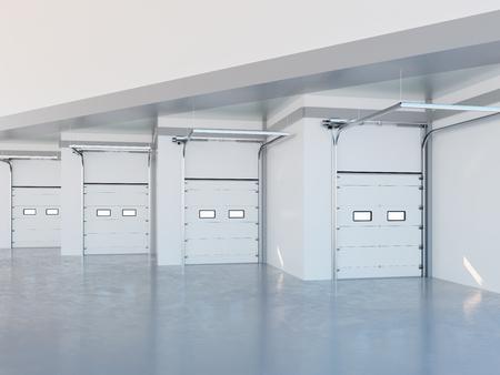 loading bay: Loading Bay Zone of Modern Warehouse Closeup 3d Illustration Stock Photo